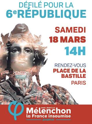 Marche pour la 6ème République le 18 mars 2017 à Paris au départ de la Manche