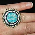 bague brodée bleu indien