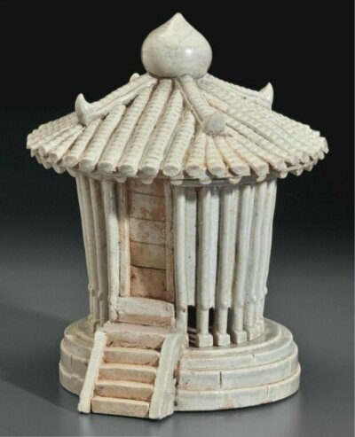 A rare Qingbai-type model of a granary and cover, China, Southern Song-Yuan Dynasty, 12th-13th century
