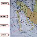 Arabie - kuwait - le hedjaz - le nedjed - yemen - carte