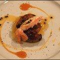 Fine tranche de mangue et langoustine royale au foie gras