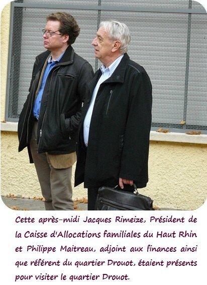 Jacques Rimeize Présidend de la CAF Philippe Maitreau adjoint aux finances et référent quartier Drouot