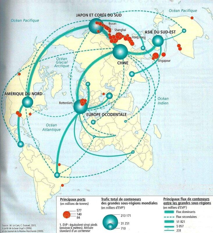 carte flux commerciaux - révolution des conteneurs