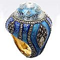 Sevan Biaki. 24-Karat Gold Jewel Encrusted Dome Ring
