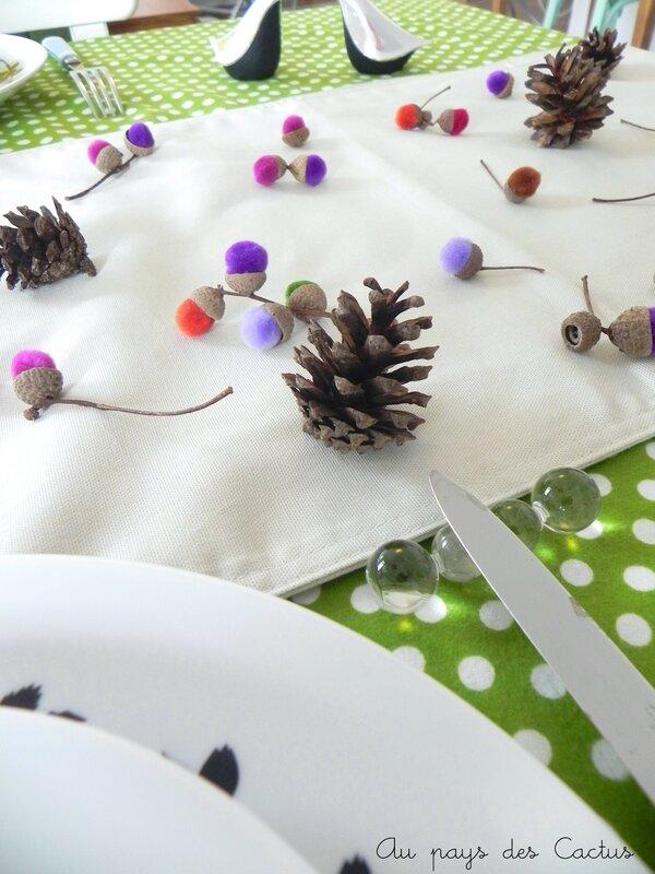 Glands pompons déco table d'automne Au pays des Cactus 8