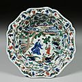 Porcelain basin with Daoist immortal design in underglaze blue and overglaze enamels, Ming Dynasty, Wanli mark and period (1573-1620)