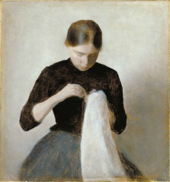 Hammershøi_Vilhelm_YoungGirlSewing_1887
