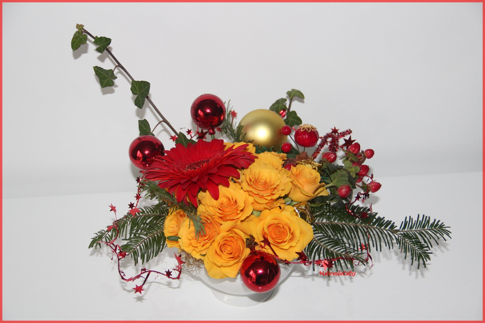 Composition florale de noel les malices de cathy - Composition florale noel originale ...