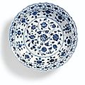 Afineblue and white barbed dish, Ming dynasty, Yongle period 