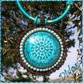 pendentif céramique turquoise