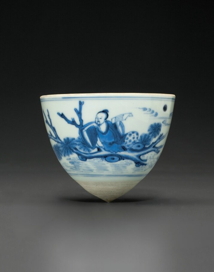 A blue and white conical cup, Chongzhen period, circa 1640
