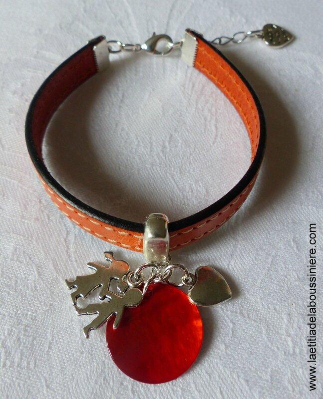 Bracelet cuir pour maîtresse, nounou (orange) - 22 €