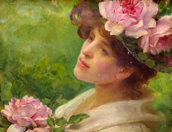 Dvorak Frank head-of-a-woman-with-peonies