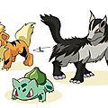 Fan art pokemon : bulbizarre, caninos et grahyena