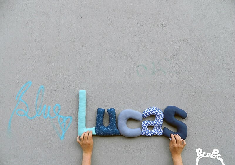 lucas 6,mot en tissu,mot decoratif,cadeau de naissance,decoration chambre d'enfant,cadeau personnalise,cadeau original,poc a poc blog