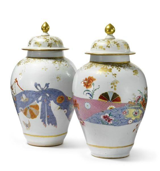 A rare and unusual pair of Chinese export porcelain famille-rose baluster vases and covers, Qing dynasty, circa 1740