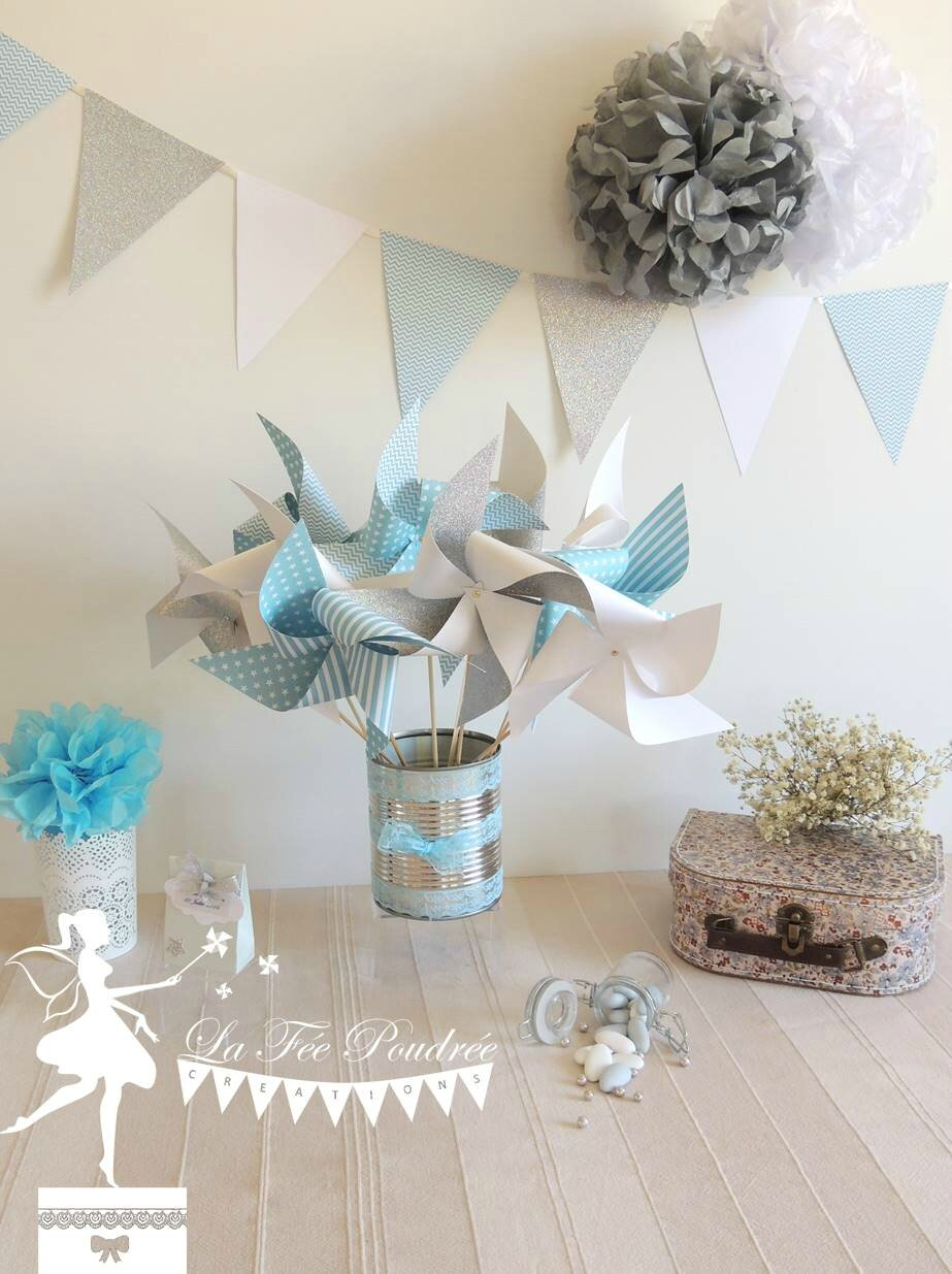 moulins a vent guirlande de fanion pompon decoration bapteme baby shower mariage bleu pastel. Black Bedroom Furniture Sets. Home Design Ideas