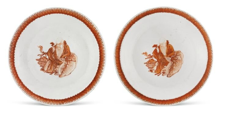 A pair of iron-red enamelled 'Shoulao' dishes, Qing dynasty, 18th century