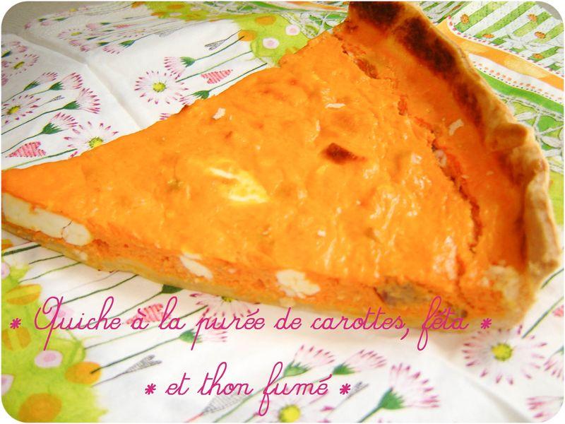 Quiche la pur e de carottes la f ta et au thon fum - Puree de carotte maison ...