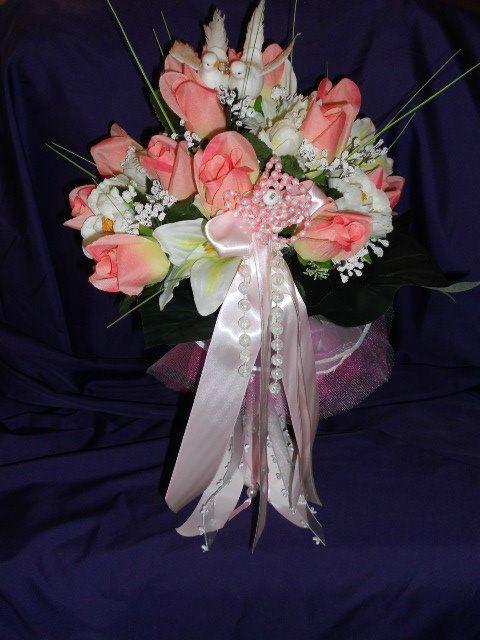 bouquet de mari e couleur rose et blanc annie creaperles creation mariage bapteme communion. Black Bedroom Furniture Sets. Home Design Ideas