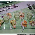 Cake sale jambon-emmental - gaspacho de concombre a la menthe - cuilleres crevette coco - cuilleres de crabe