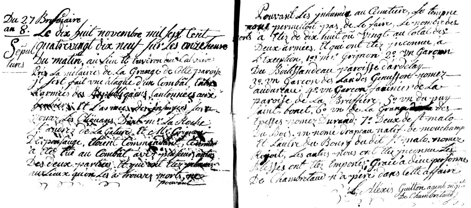 18 novembre 1799, la bataille de Chambretaud