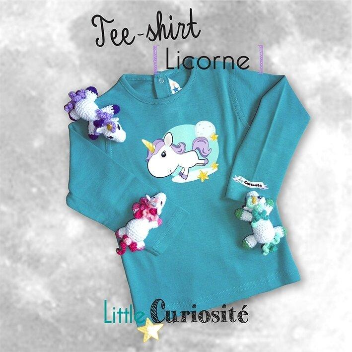 Mode Bébé-Enfant-Fille, Tee-shirt manches longues Céladon [ Licorne ] - Handmade in France - ©Little Curiosité (1)