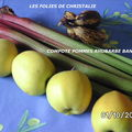 Compote pommes, bananes, rhubarbe