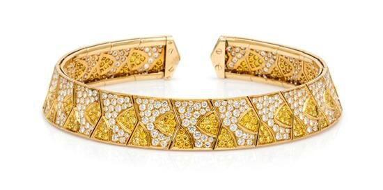 An 18 Karat Yellow Gold, Colored Diamond and Diamond Flexible Collar Necklace, Van Cleef & Arpels