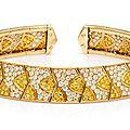An 18 karat yellow gold, colored diamond and diamond flexible collar necklace, van cleef & arpels