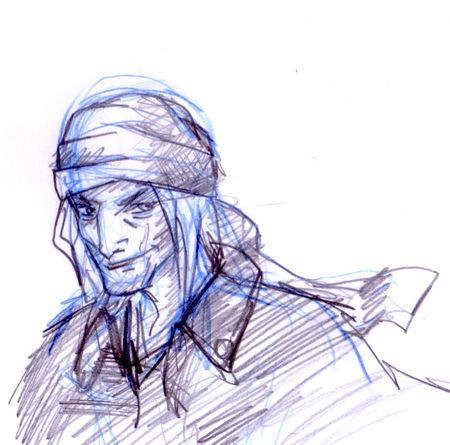 croquis crayonné portrait de pirate