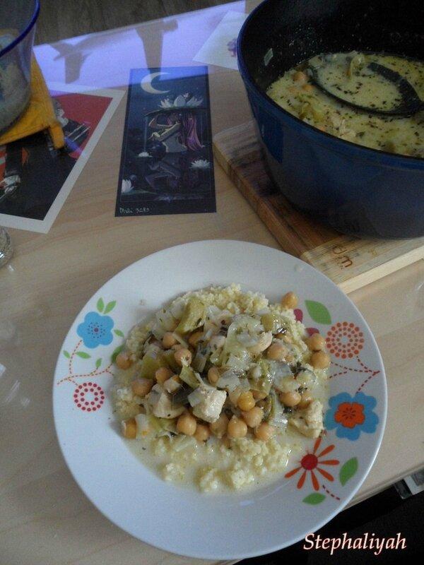Poulet aux poireaux, pois chiches et estragon -- 3