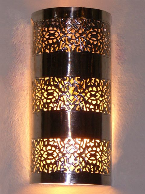 Moroccan Wall Lights Silver : Moroccan Wall Light, Wall Sconce, fine chiselled rose pattern, Moroccan Arts and Crafts ...