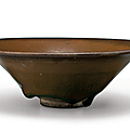 A jian persimmon-brown 'hare's-fur' conical bowl, southern song dynasty, 12th-13th century