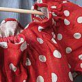 Robe ALBANE en lin rouge à pois couleur lin (5)