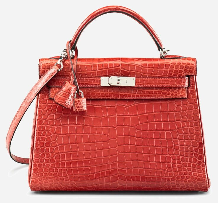 Hermès 32cm Matte Rouge H Porosus Crocodile Retourne Kelly Bag, 2010