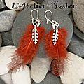 Aujourd'hui, j'aimerais avoir l'esprit léger comme les plumes de ces boucles d'oreilles rouge-bordeaux et leurs plumes en métal
