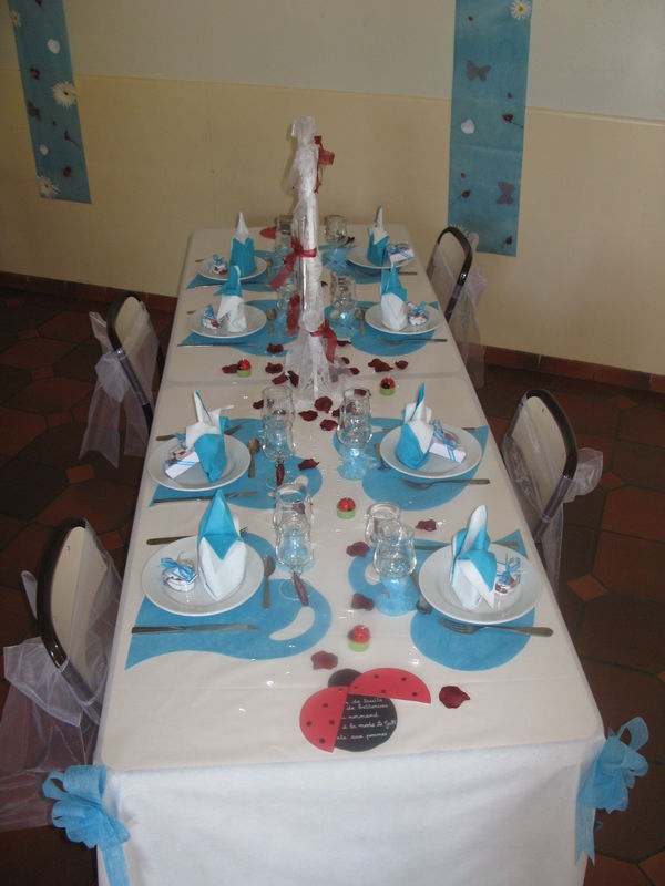 Decoration table mariage turquoise for Deco rouge et turquoise