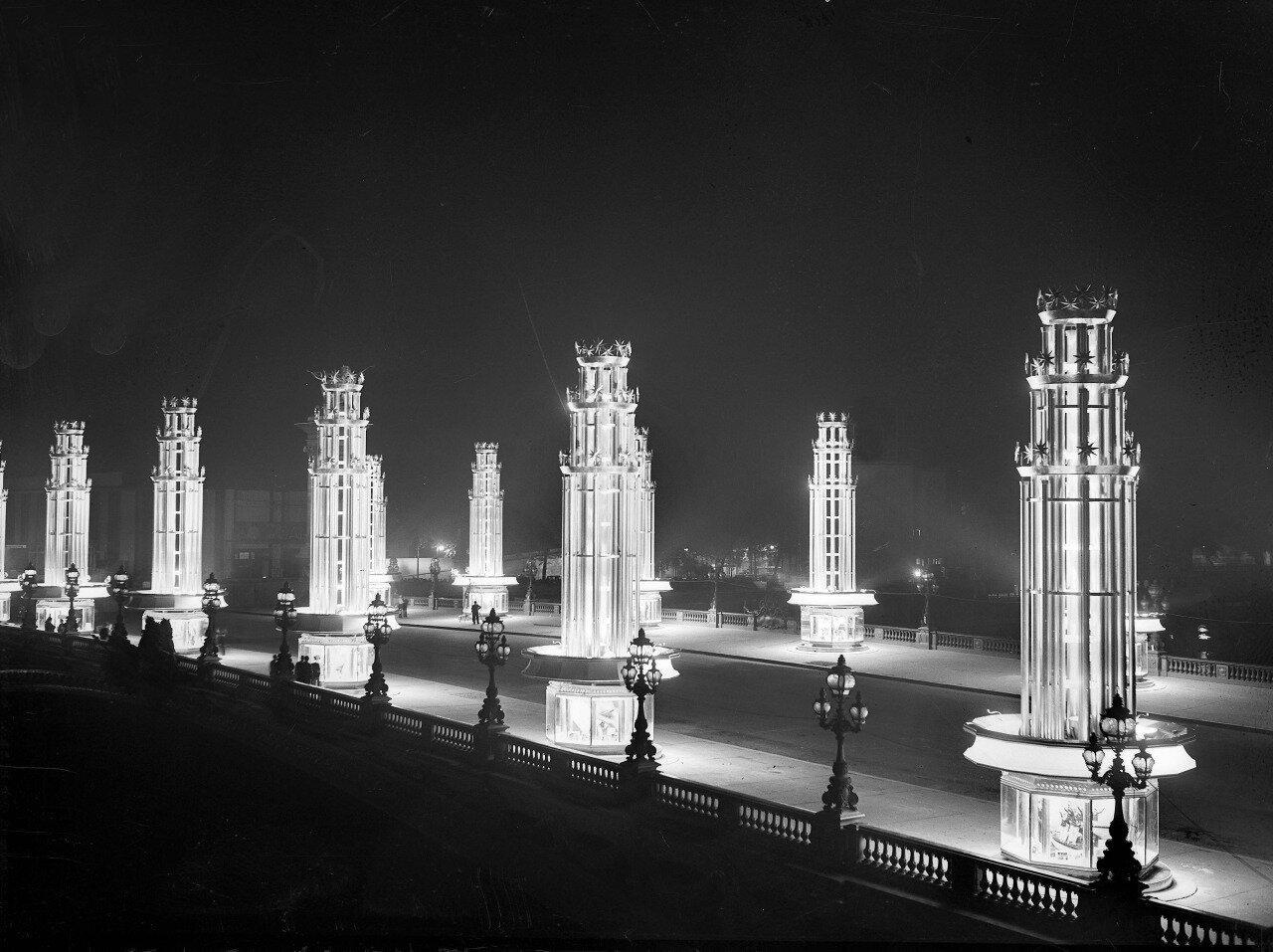 The illuminated Pont Alexandre III during the 1937 Exposition Internationale, Paris