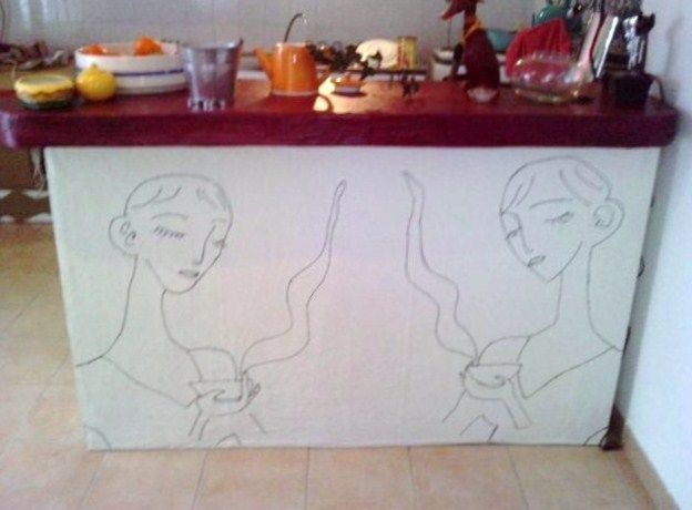 meubles de cuisine tout en carton - le blog de katharos - Meuble Separation Cuisine