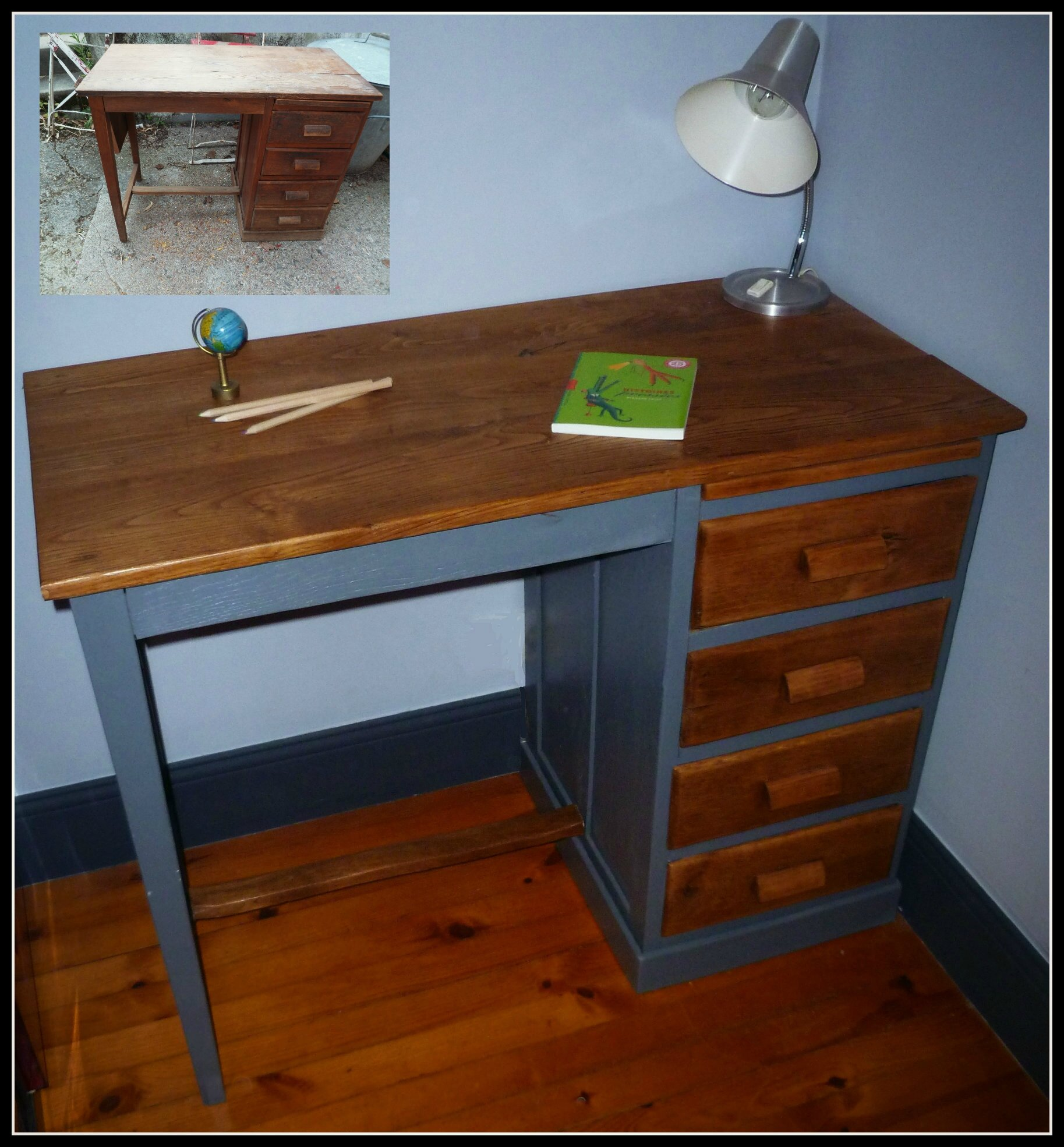 peindre un bureau en bois bureau mathis brocante et patine. Black Bedroom Furniture Sets. Home Design Ideas