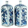 Pair of square bottles, china, ming dynasty, wanli period, 1573 - 1619