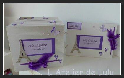 livre d'or et urne violet sur paris