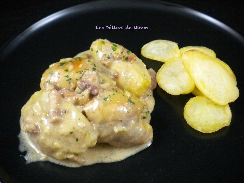 Hauts de cuisses de poulet aux pommes et aux lardons 2