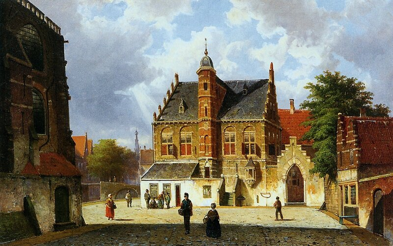 Koekkoek-Willem-Summer-city-view-Sun