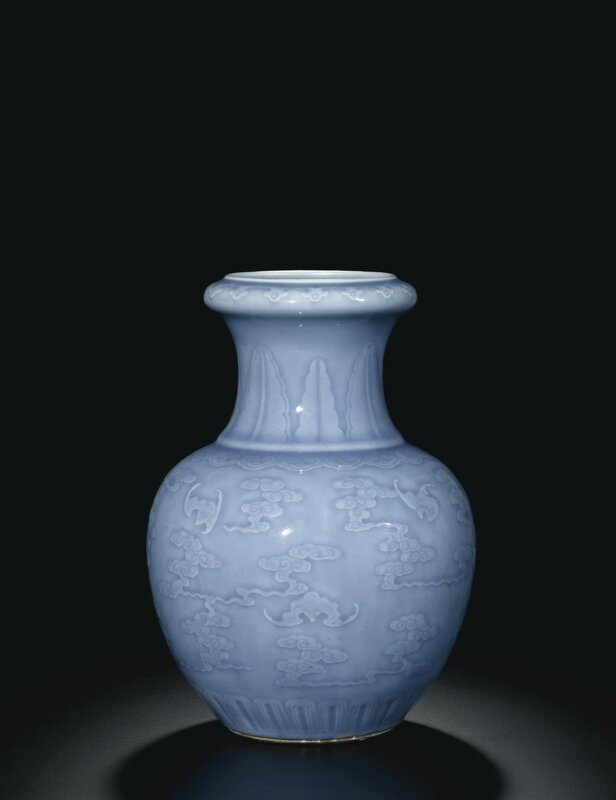 A sky blue-glazed 'Bats and Clouds' vase, Qing dynasty, Yongzheng period