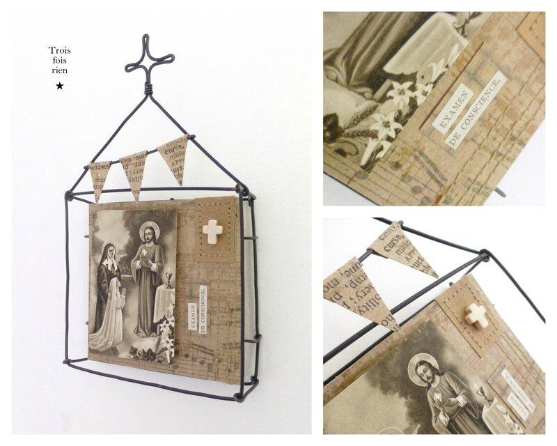 Mini box N°28B, boîtes fil de fer, wire box, bondieuserie, image pieuse, church, wire, trois fois rien
