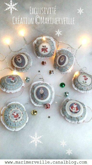 Boules de Noël en transferts à broder Marimerveille