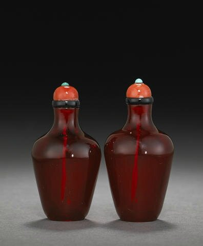 A pair of red glass snuff bottles, Imperial, Palace Workshops, Beijing, 1730-1800