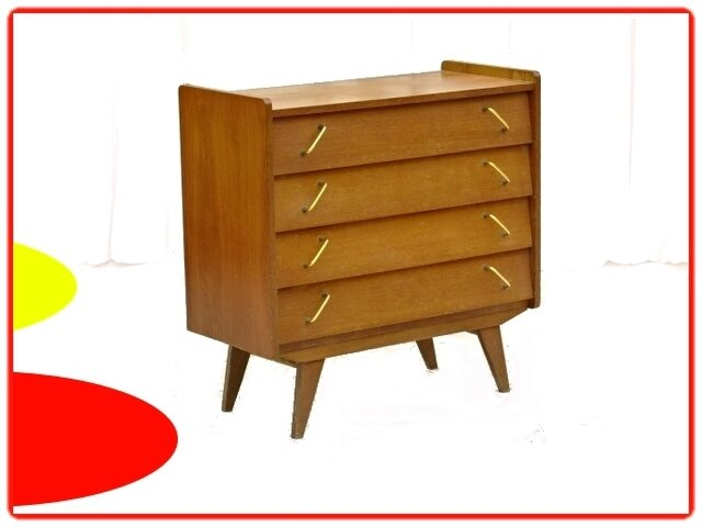 COMMODE VINTAGE POIGNEES INCLINEES 1960
